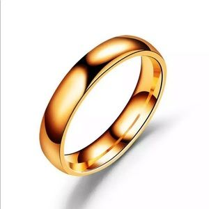 4mm Stainless SteelPolished  Band Ring Rose Gold